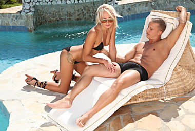 Ivana Sugar is out by the pool and gets horny