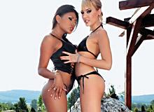 Horny lesbians pleasuring each other